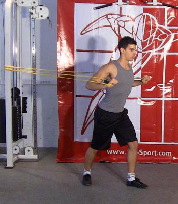 Exercices sci sport d velopp horizontal debout avec - Pectoraux developpe couche ...